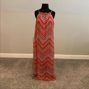 Emma & michele coral & pink aztec maxi dress 10
